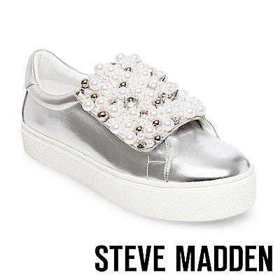 STEVE MADDEN-LION 珍珠鉚釘鑲嵌厚底懶人鞋-銀色