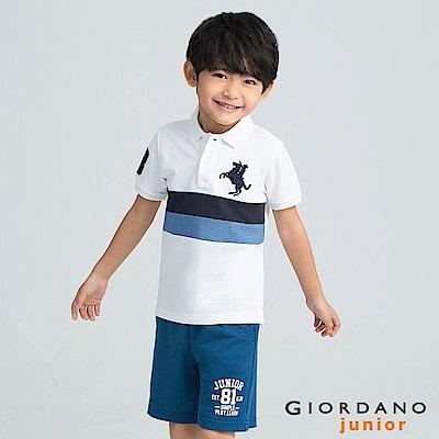 GIORDANO  童裝拿破崙刺繡布章短袖POLO衫-04 標誌白