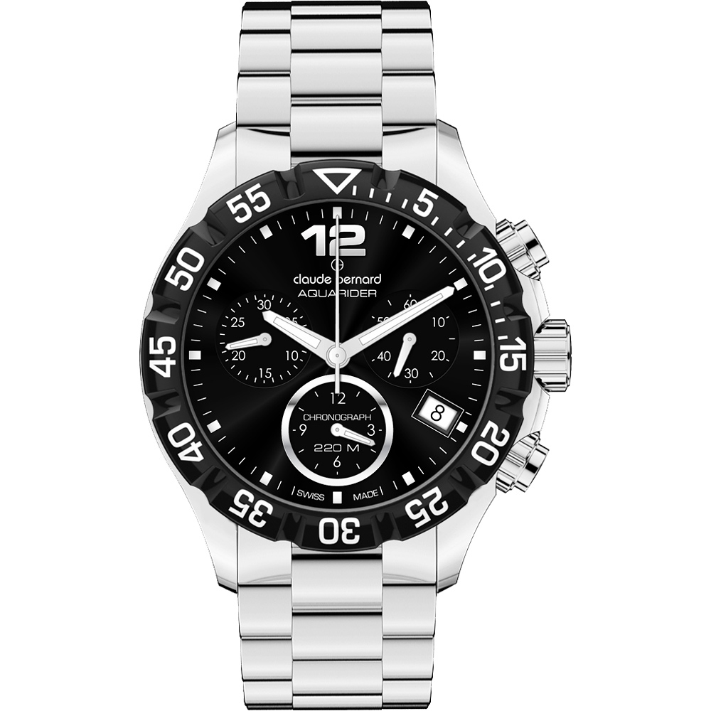 Claude Bernard Aquarider Sport 計時腕錶-黑/銀/36mm