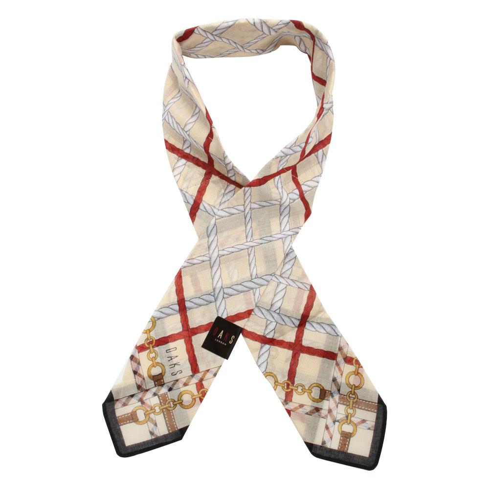 DAKS 鍊繩格紋涼感夏領巾(淺駝/附保冷劑)