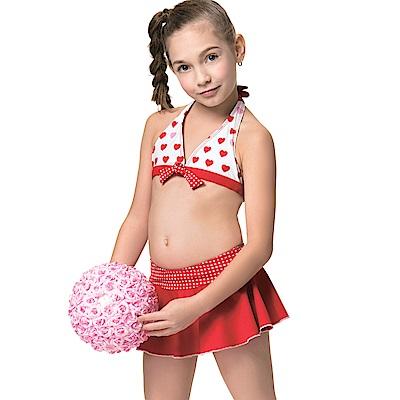 聖手牌兒童泳裝紅色兩件式比基尼女童泳裝