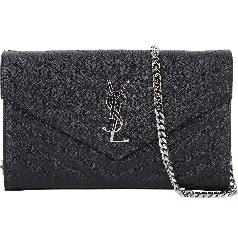 YSL Saint Laurent Monogram V型絎縫荔紋牛皮鍊帶信封包(黑色)