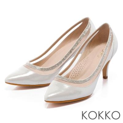 KOKKO台灣手工-華麗鑽飾透紗拼接中跟晚宴鞋- 耀眼銀
