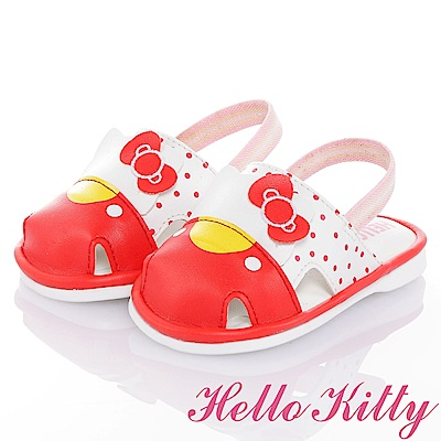 HelloKitty Die-Cut系列 吸震嗶嗶學步涼鞋-白紅