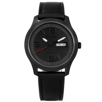 LICORNE 力抗 entree復古文青風格藍寶石水晶真皮手錶-黑/39mm