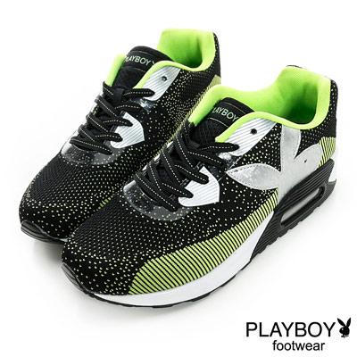 PLAYBOY-個性步調-編織風氣墊休閒鞋-黑綠