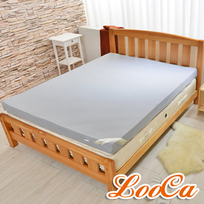 LooCa 綠能護背黑絲絨竹炭10cm減壓床枕毯組 雙人