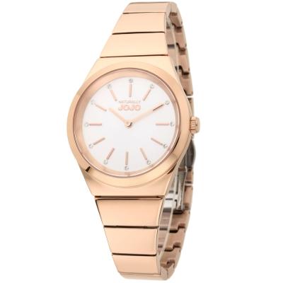 NATURALLY JOJO 晶鑽立體時標氣質腕錶-白色/玫瑰金-34mm