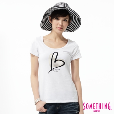 SOMETHING-T恤-優雅愛心印花T恤-女-白