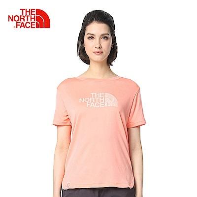 The North Face北面女款橘色吸濕排汗短袖T恤