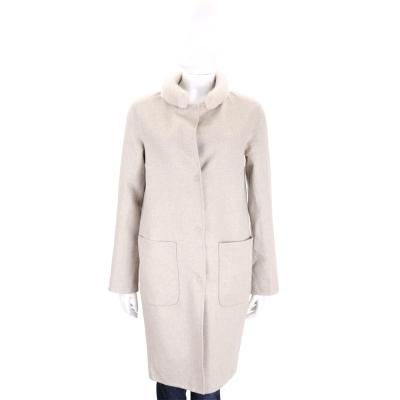 Manzoni 24 淺卡其色皮草飾邊雙面穿大衣外套(70%WOOL)