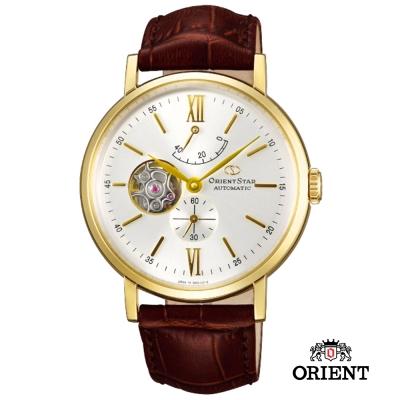 ORIENT STAR 東方之星 OPEN HEART 紳士小鏤空機械錶白x金框/47mm