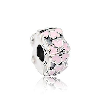 Pandora 潘朵拉 粉色鑲鋯櫻花隔間珠 純銀墜飾 串珠