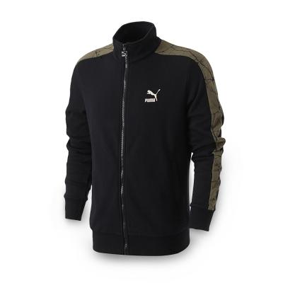 PUMA-男性流行系列爆裂紋T7立領外套-黑色-亞規
