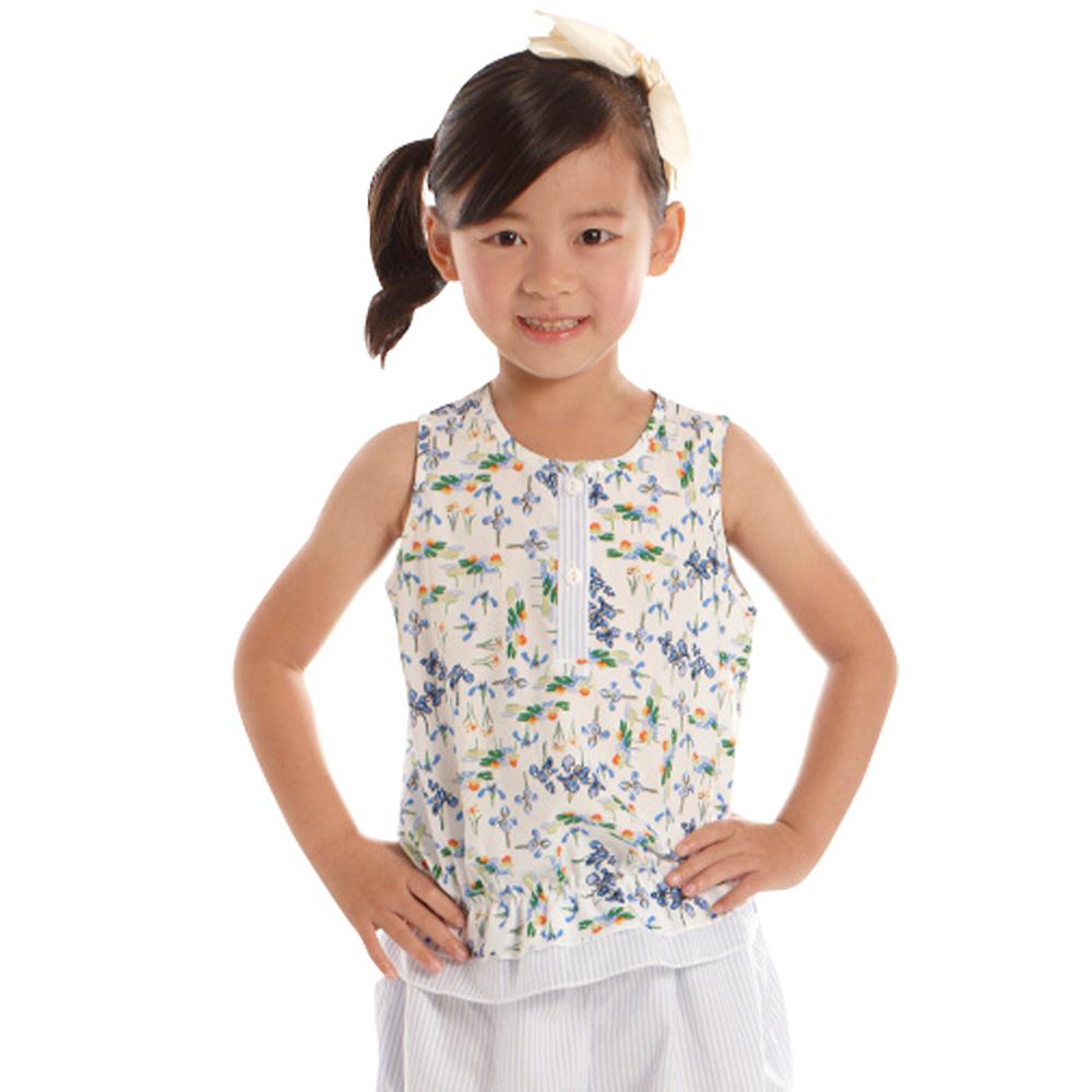 愛的世界 純棉鳶尾花印花無袖上衣/4~6歲