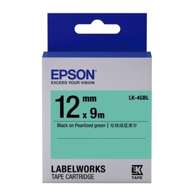 EPSON C53S654419 LK-4GBL珍珠彩系列綠底黑字標籤帶(寬度12mm)