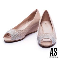 跟鞋 AS 優雅璀璨雙色漸層水鑽羊麂皮魚口楔型跟鞋-粉