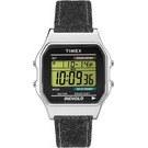 TIMEX 天美時經典復古80電子腕錶-銀殼/灰色單寧帶-34mm