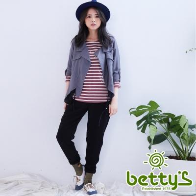 betty's貝蒂思 立體剪裁哈倫褲(黑色)