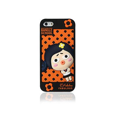 【摩達客】韓國Fabulous進口 可愛Judy黑橘色3D矽膠保護套/iPhone5手機套