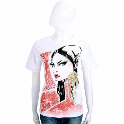 ELISABETTA FRANCHI 白色肖像圖騰棉質短袖T恤