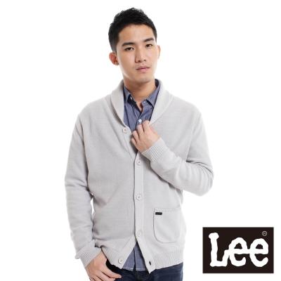 Lee-前開扣長袖針織保暖針織外套-男款-淺灰