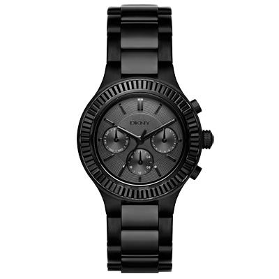 DKNY  精緻雅典娜三眼時尚腕錶-黑/37mm
