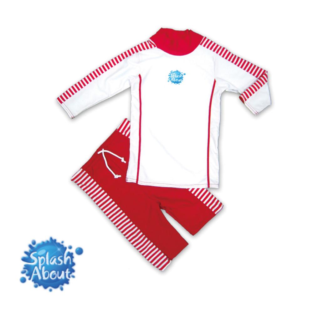 《Splash About 潑寶》 兒童抗UV游泳套裝 - 紅白條紋 1-2歲