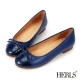 HERLS-真皮圓頭蝴蝶結娃娃鞋-藍色
