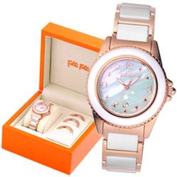 Folli Follie 夢露與我晶鑽陶瓷腕錶盒裝組-玫瑰金/32mm