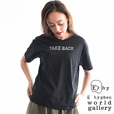 E hyphen 定番標語打印落肩V領T恤