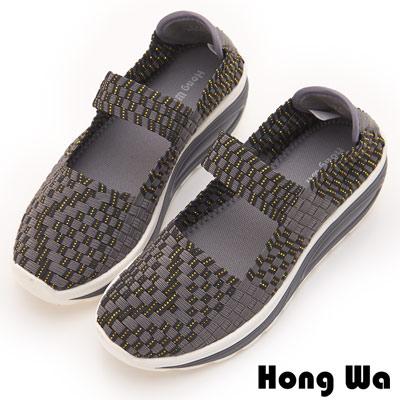 Hong Wa 休閒運動風手工厚底一字帶造型編織械型包鞋 - 灰