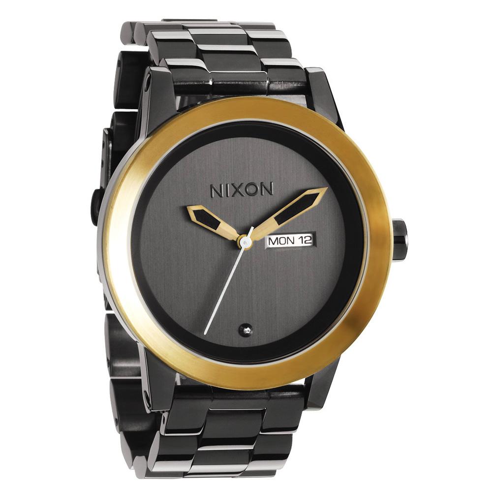 NIXON The SPUR 優雅伸展台晶鑽時尚腕錶-亮黑金/41mm