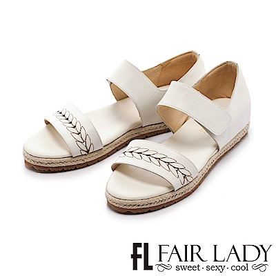 Fair Lady 桂冠縷空拼接草編後包涼鞋 白