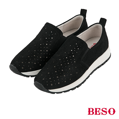 BESO 舒適漫步 全真皮輕量星星沖孔休閒鞋~黑