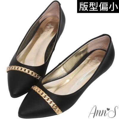 Ann'S氣質小資-金鍊尖頭小坡跟包鞋-黑