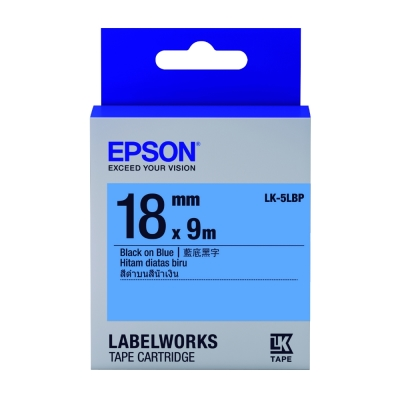 EPSON C53S655406 LK-5LBP粉彩系列藍底黑字標籤帶(寬度18mm)