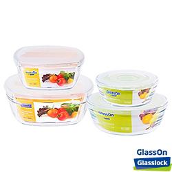 Glasslock GlassOn強化玻璃微波盒 - 可微波方圓4入組