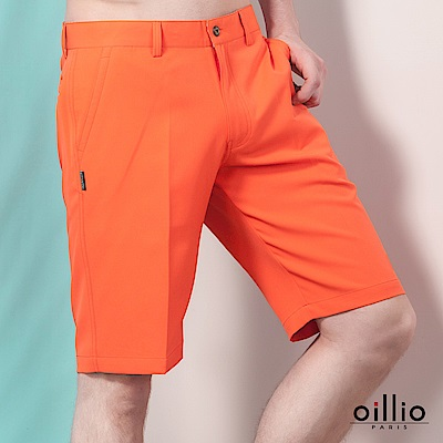 歐洲貴族oillio 休閒短褲 質感褲款 電腦刺繡 橘色