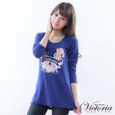 Victoria 繽紛花園印花TEE-女-深藍