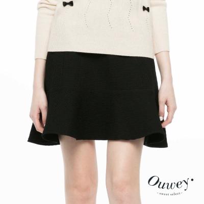 OUWEY歐薇-緹格花紋切線短裙