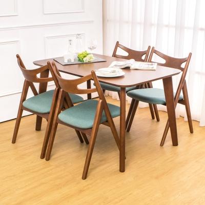 Boden-米洛4.5尺實木餐桌椅組(一桌四椅)-135x80x75cm