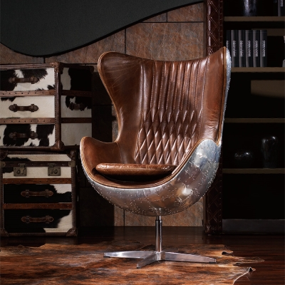 MUSE - Bertram柏特萊姆復古工業風牛皮鋁質飛官椅