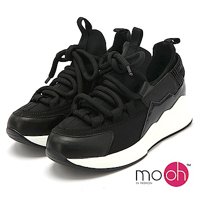 mo.oh-彈力網布真皮厚底運動鞋-黑色