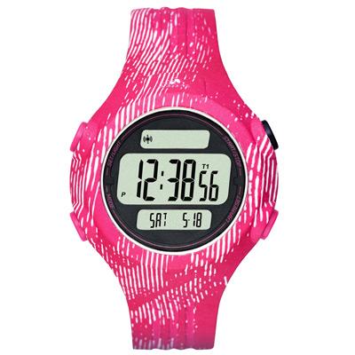 adidas 勁戰狙擊大面板電子腕錶-桃紅x白印刷紋x小/42mm