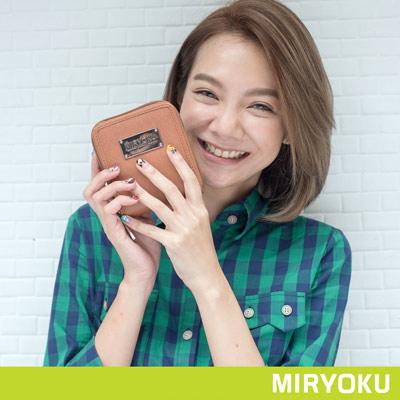 MIRYOKU-質感斜紋系列-俏麗直式拉鍊短夾-駝