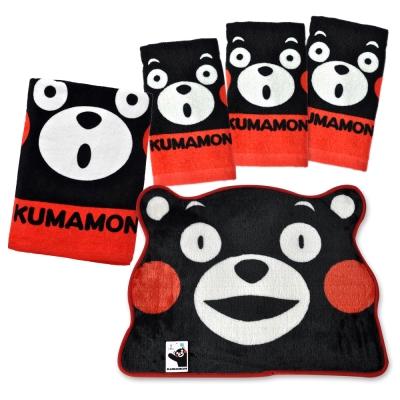 人氣混搭五件組 熊本熊大浴巾+造型地墊+童巾3條
