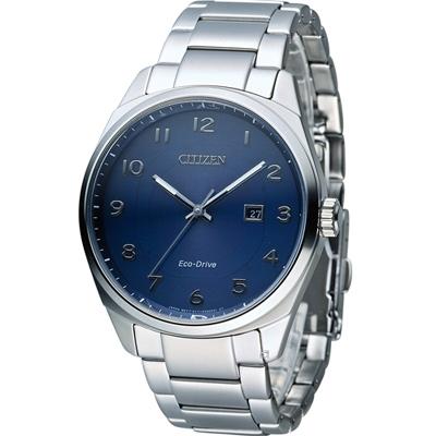 CITIZEN 星辰 光動能紳士時尚腕錶(BM7320-87L)-藍42mm