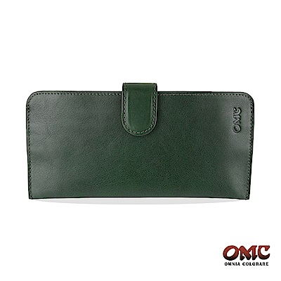 OMC 原皮系列-植鞣牛皮舌片壓扣 14 卡透明窗雙隔層零錢長夾-綠色