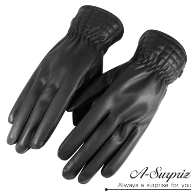 A-Surpriz-經典格紋男用素面觸控皮手套-黑